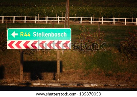 Road sign indicating stellenbosch,south africa - stock photo