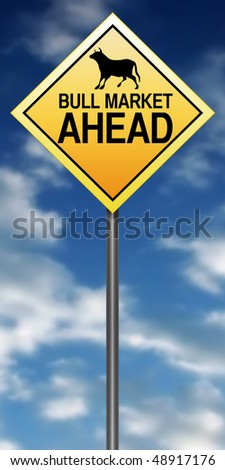 "Road Sign Metaphor with ""Bull Market Ahead"" - stock photo"