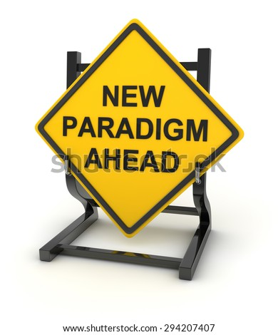 Road sign - new paradigm , 3d rendered image. - stock photo