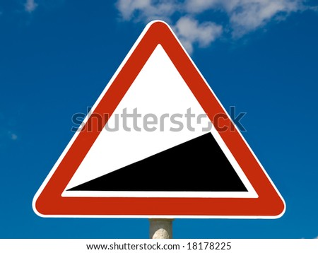 Road sign on sky background - stock photo