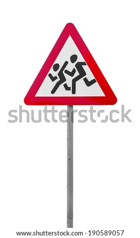 Road sign people run across the road isolated on white background - stock photo