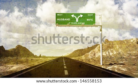 Road sign showing divorce ahead and splitting up. Seven year itch. - stock photo