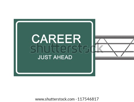 Road sign to career - stock photo