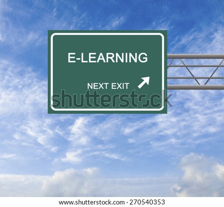 Road sign to e-learning - stock photo