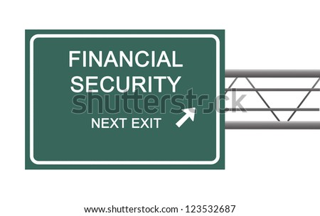 Road sign to financial security - stock photo