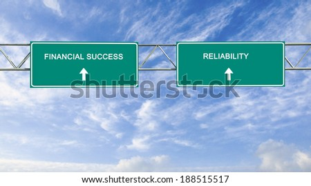Road sign to financial success and reliability - stock photo
