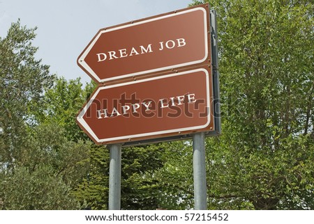Road sign to happy life and good job - stock photo