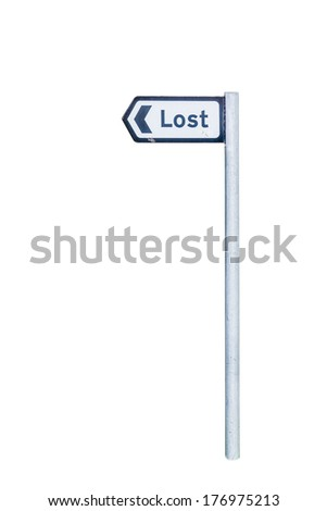 Road sign to the town of Lost, Scotland isolated on white - stock photo