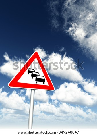 road sign traffic jam under cloudy blue sky - 3d illustration - stock photo