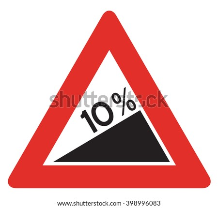 Road sign used in Italy - dangerous descent. - stock photo