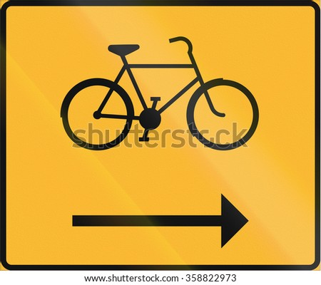 Road sign used in Sweden - Cycle track. - stock photo
