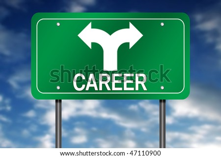"Road Sign with ""Career"" and Decision Arrow - stock photo"