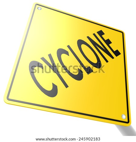 Road sign with cyclone image with hi-res rendered artwork that could be used for any graphic design. - stock photo