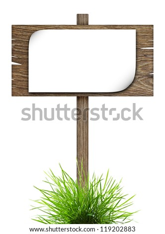 Road sign with sheet of paper in green grass isolated on a white background - stock photo