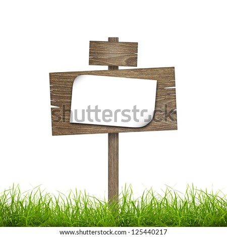 Road sign with sheet of paper in green grass over white background - stock photo