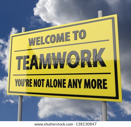 Road sign with words Welcome to teamwork on blue sky background - stock photo