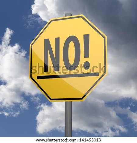 Road sign Yellow with word No on blue sky background - stock photo