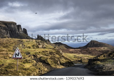 Road Signs on Quirang Pass, Isle of Skye - stock photo