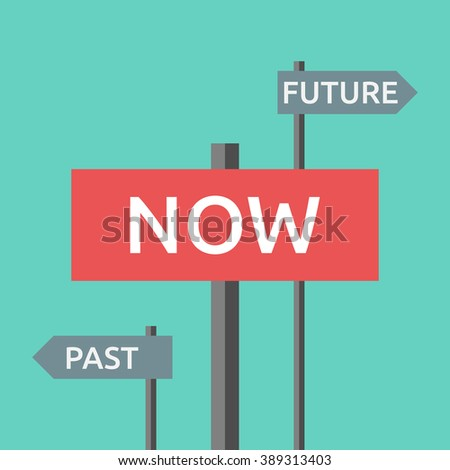 Road signs with words now, past and future. Focus on present, life, destiny, harmony, motivation, success, concentration, aging concept - stock photo