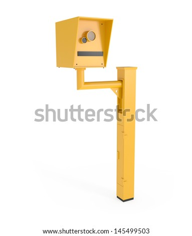 Road Speed Camera isolated on white - 3d illustration - stock photo