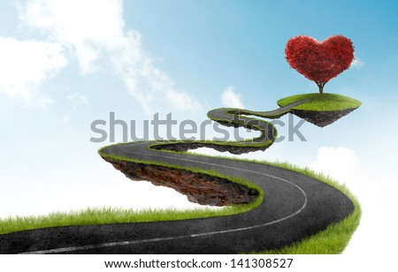 road suspended in the sky towards the tree in the shape of heart - stock photo