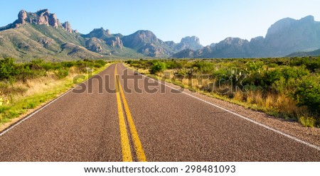 Road Through Big Bend National Park - stock photo