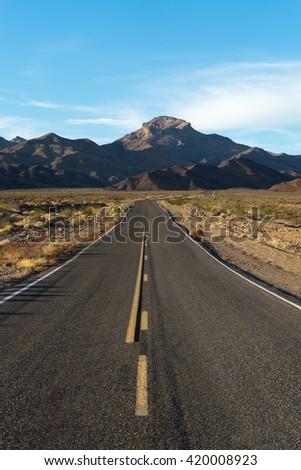 road through death valley california  - stock photo
