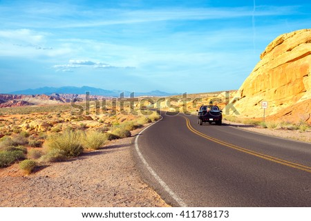 road through Rainbow vista in Valley of Fire State Park  - stock photo