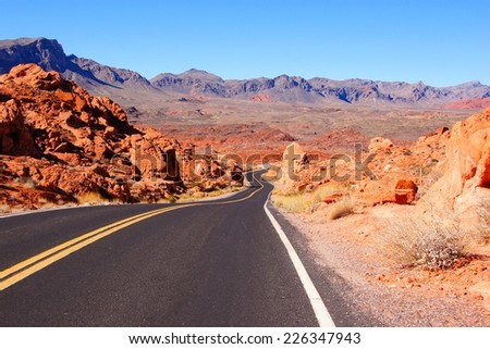 Road through scenic Valley of Fire State Park, Nevada, USA                    - stock photo