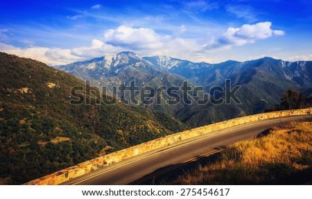 Road Through the Mountains, Sequoia National Park, California  - stock photo