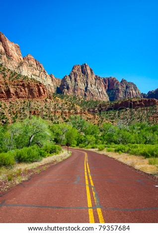 Road through Zion Canyon National Park, Utah - stock photo