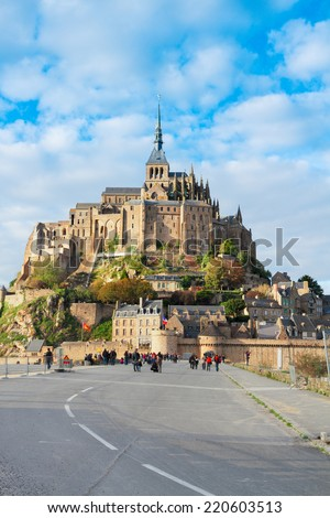 road to Abbey of Mont Saint Michel,  Normandy, France - stock photo