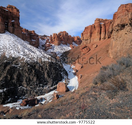 Road to canyon - stock photo