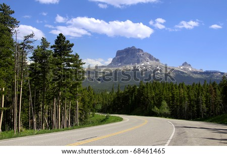 Road to Chief mountain in Glacier national park Montana - stock photo