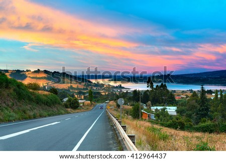 Road to Dalcahue at Chiloe Island, Chile - stock photo
