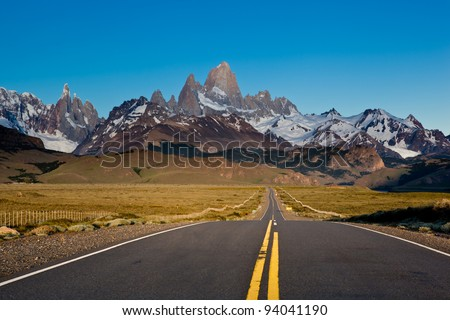 Road to fitz roy mountain - stock photo