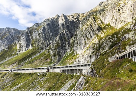 road to Gotthardpass, Valle Leventina, Tessin, Switzerland - stock photo