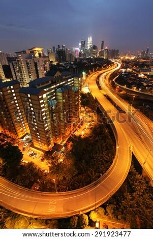 Road to Kuala Lumpur, Malaysia - stock photo