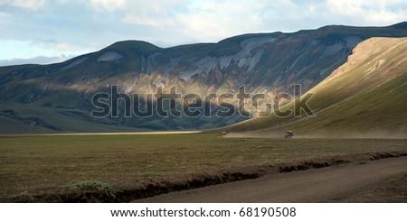 road to Landmannalaugar - colored mountains on Iceland - stock photo