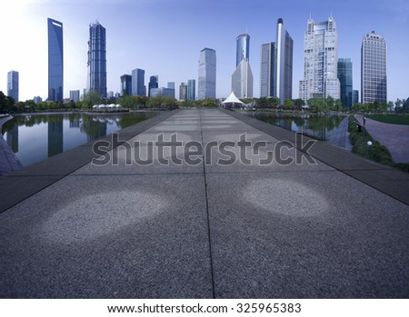 Road to Lujiazui,finance center of Shanghai City - stock photo