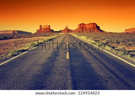 road to Monument Valley at sunset, USA - stock photo
