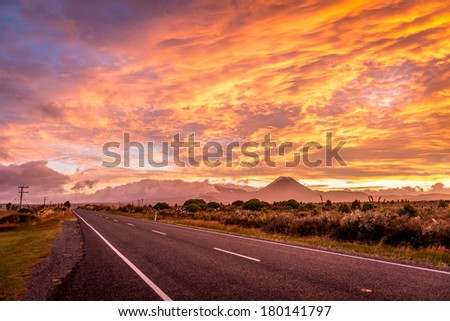 Road to Mount Ngauruhoe sunrise - stock photo