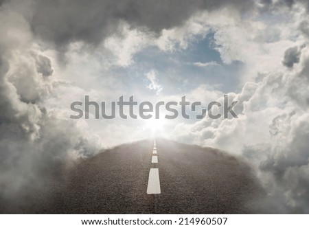 Road to success, empty highway in the heaven with copy space - stock photo