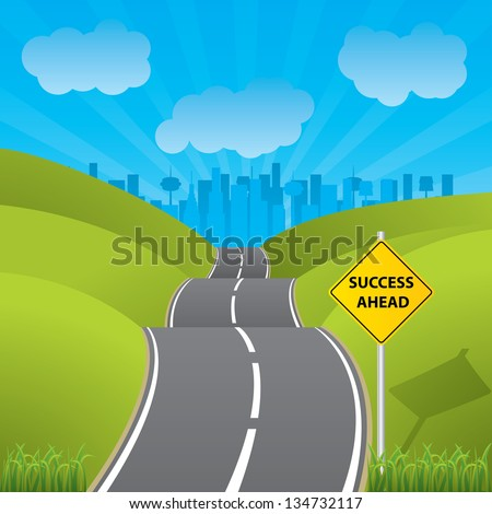 Road to success to a city with skyscrapers - stock photo