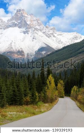 Road to Takakkaw Falls in Yoho National Park British Columbia Canada. - stock photo