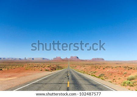Road to the Monument Valley - stock photo