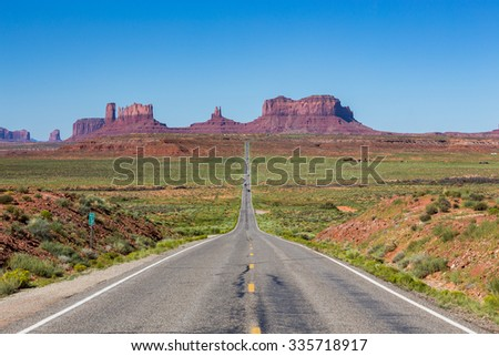 Road to the Monument Valley, Utah, USA - stock photo