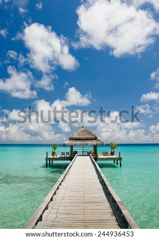 Road to the spa room on the pier. Concept of bodycare - stock photo