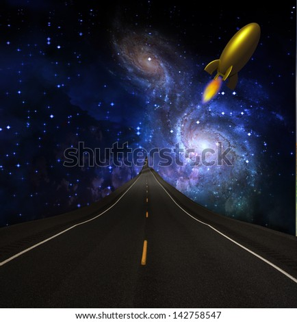 Road to the stars - stock photo