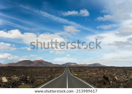 Road to Timanfaya National Park, Lanzarote, Canary Islands, Spain. - stock photo
